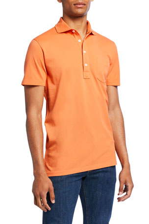 Ralph Lauren Purple Label Men's Pocket Polo Shirt, Orange