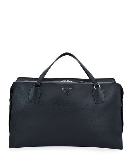 Prada Men's Large Soft Leather Weekender Duffel Bag