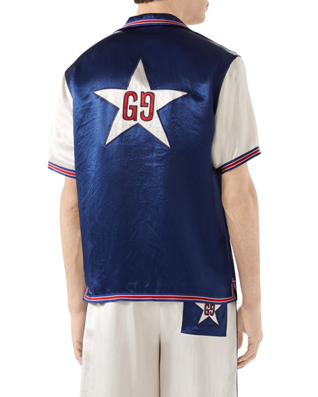 Gucci Men's Contrast-Sleeve Satin Sport Shirt