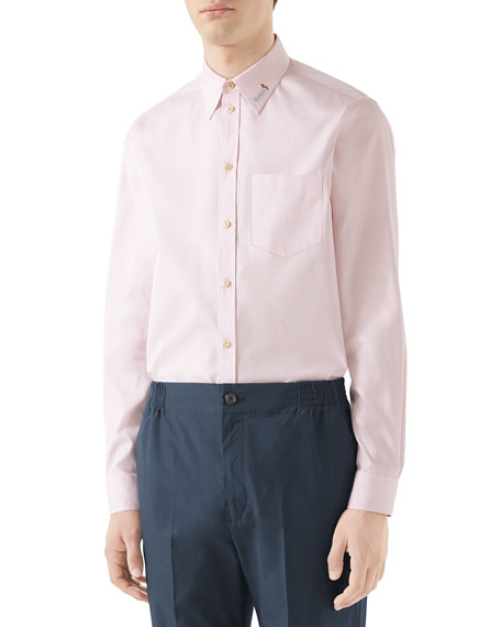 Gucci Men's Embroidered-Collar Cotton Sport Shirt