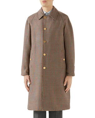 1133a3047 Gucci Men's Plaid Single-Breasted Reversible Overcoat