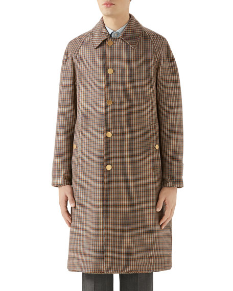 Gucci Men's Plaid Single-Breasted Reversible Overcoat