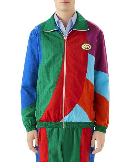 Gucci Men's Geometric Colorblocked Track Jacket