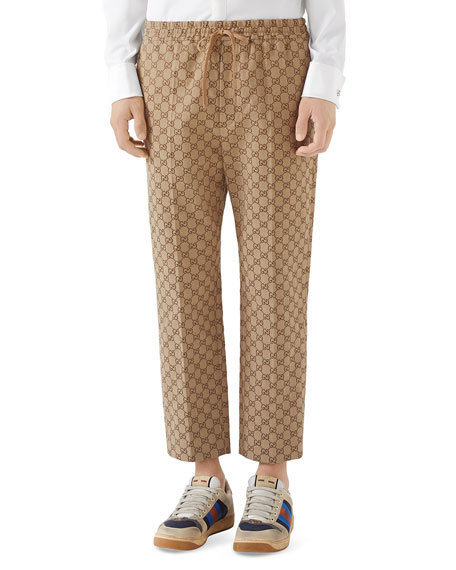 Gucci Men's Logo-Print Drawstring Canvas Pants