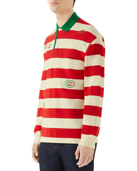 Gucci Men's Long-Sleeved Striped Logo Polo Shirt