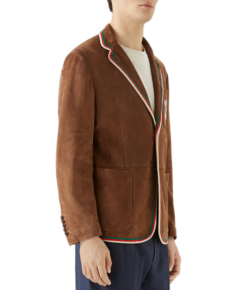 Gucci Men's Perforated Suede Sport coat w/ Pocket Embroidery