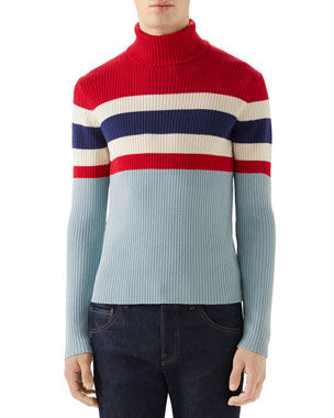 dd729933579 Gucci Men s Multi-Stripe Ribbed Turtleneck Sweater