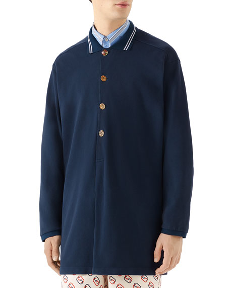 Gucci Men's Oversized Polo Shirt with Logo Buttons