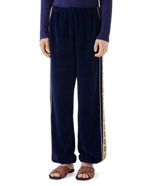 592c3546d Gucci Men's Side-Stripe Chenille Jogger Pants