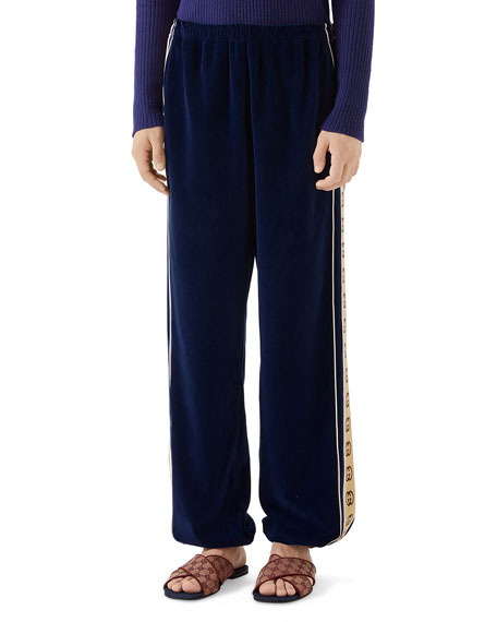 Gucci Men's Side-Stripe Chenille Jogger Pants