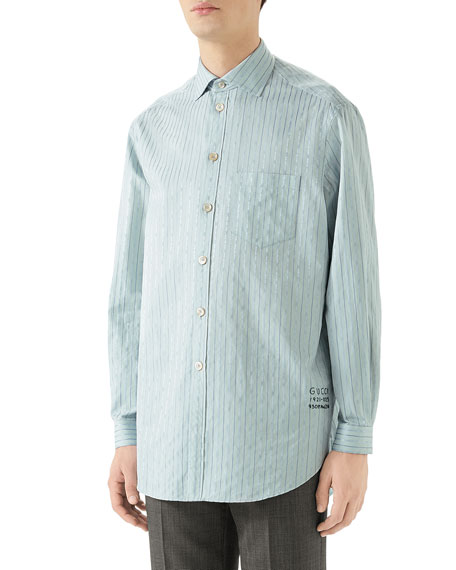 Gucci Men's Striped Logo-print Sport Shirt In Blue