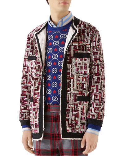 Men's Sequin Wool Mohair Jacket