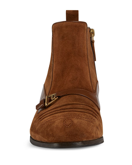 Gucci Men's Moloch Suede Ankle Boots
