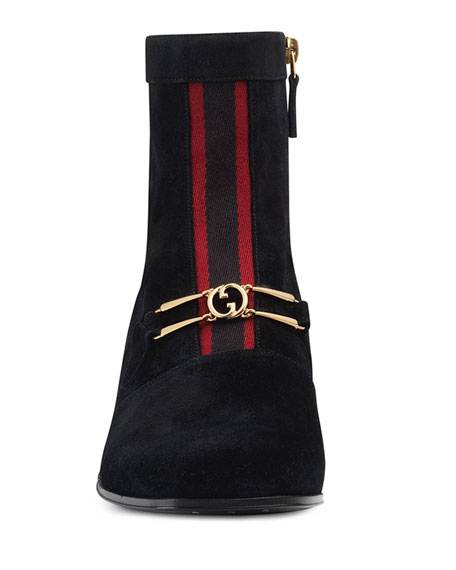 Gucci Men's Lubbock G Logo and Web-Stripe Suede Boots