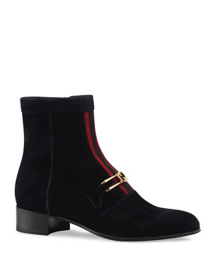 180a7f326bd Gucci Men s Lubbock G Logo and Web-Stripe Suede Boots