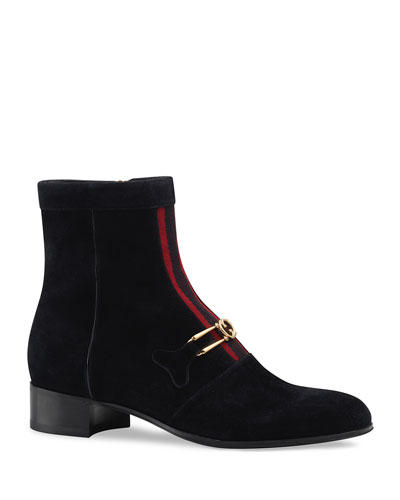 Men's Lubbock G Logo and Web-Stripe Suede Boots