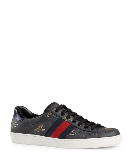 Gucci Men's New Ace Low-Top Sneakers With Tigers Print