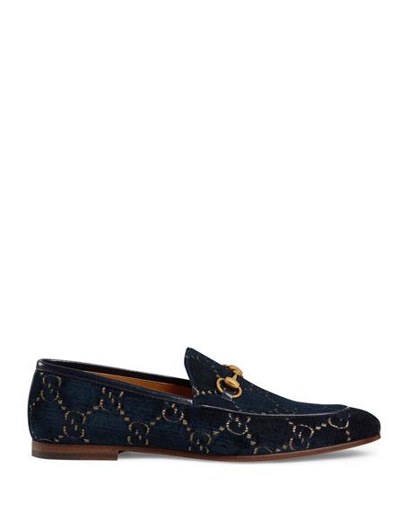 Gucci Men's New Jordaan Metallic G Velvet Loafers
