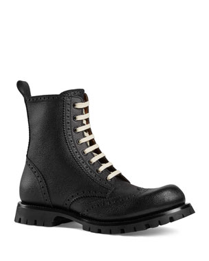 491aa0b5ad1f Gucci Men s New Arley Lace-Up Boots w  Brogue Detailing