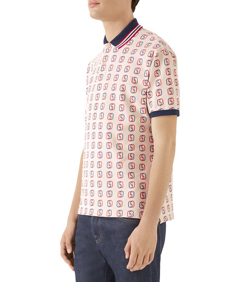 Gucci Men's GG Logo Cotton Pique Polo Shirt