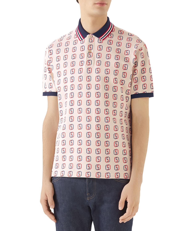 4085862b56ff Gucci Men's GG Logo Cotton Pique Polo Shirt   Neiman Marcus