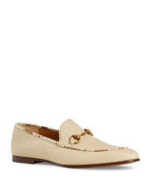8a74f34c4ba Gucci Men s New Jordaan Raffia Loafers with Snakeskin Trim