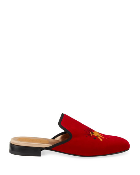Gucci Men's Pantoufle Embroidered Suede Mule Slippers