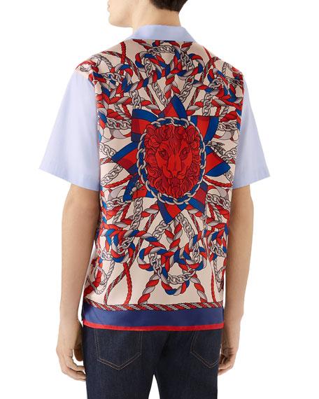 Gucci Men's Short-Sleeve GG-Panel Oxford Shirt