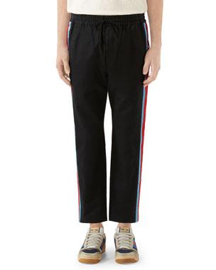 39eb2ad22f39 Gucci Men s Side-Stripe Cotton Twill Drawstring Pants