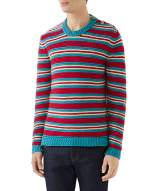deb02dccaec Gucci Men s Multi-Stripe Crewneck Sweater