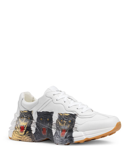 Gucci Men's Rhyton Tiger-Print Leather Dad Sneakers