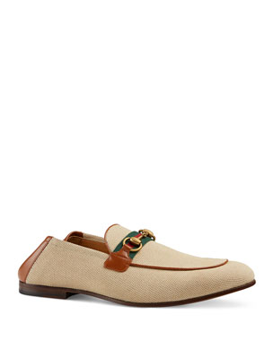 72518109c704 Gucci Men s Brixton Canvas   Leather Loafers