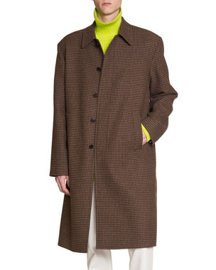 be1dd1e1ae24 Balenciaga Men's Wool Houndstooth Soft-Shoulder Car Coat
