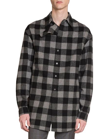 Balenciaga Men's Buffalo Check Flannel Oversized Shirt