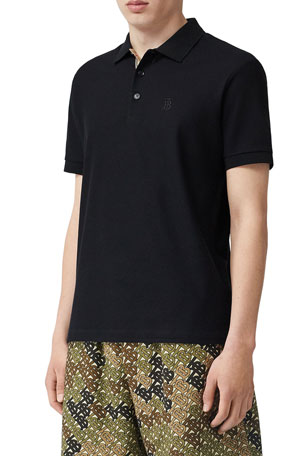 Burberry Men's Eddie Pique Polo Shirt, Black