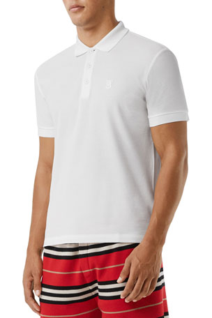 Burberry Men's Eddie Pique Polo Shirt, White