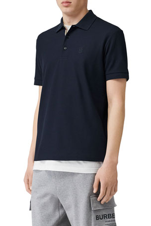Burberry Men's Eddie Pique Polo Shirt, Navy