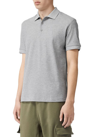 Burberry Men's Eddie Pique Polo Shirt, Gray