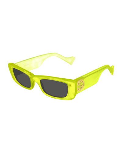Men's Wide-Arm Rectangle Acetate Sunglasses