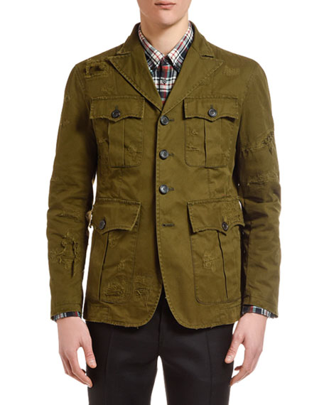 Dsquared2 Men's Distressed Chino Field Jacket