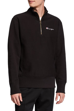Champion Europe Men's Small Script Half-Zip Sweatshirt