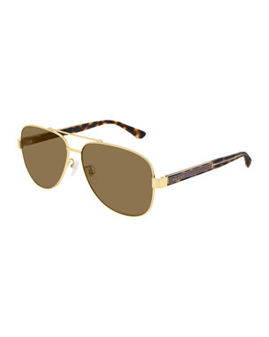 f19391b409249 Gucci Men s Aviator Metal   Tortoiseshell Sunglasses