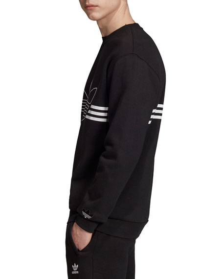 Adidas Men's Logo Outline and 3-Stripes Sweatshirt