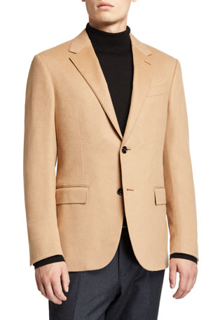 Ermenegildo Zegna Men's Solid Camel Hair Regular-Fit Sport Jacket