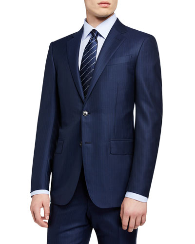 Men's Textured Stripe Two-Piece Suit