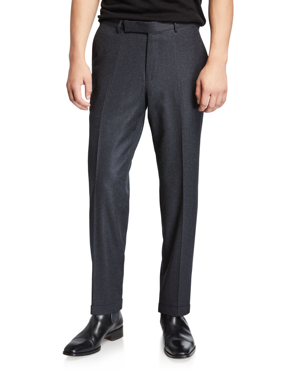 Men's Wool Silk Flannel Trousers by Ermenegildo Zegna