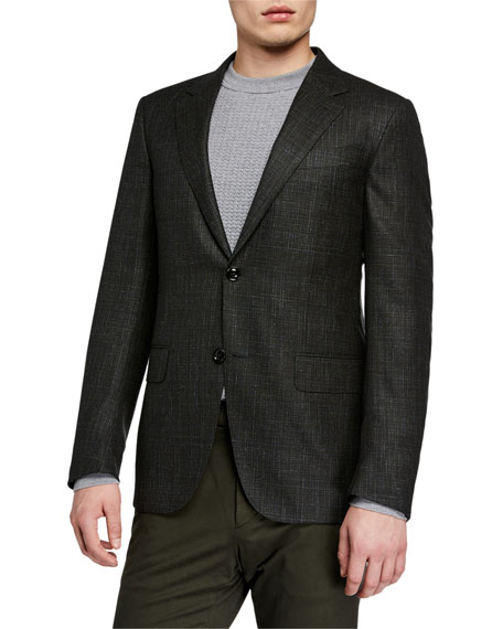 Image 1 of 3: Ermenegildo Zegna Men's Heathered Wool/Cashmere Regular-Fit Blazer