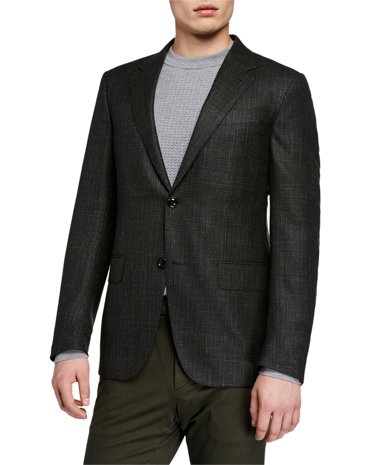 Ermenegildo Zegna Men's Heathered Wool/Cashmere Regular-Fit Blazer