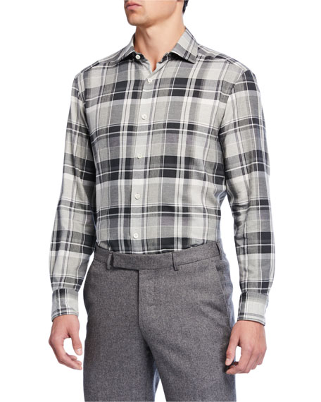 Ermenegildo Zegna Men's Tartan Plaid Cotton Sport Shirt