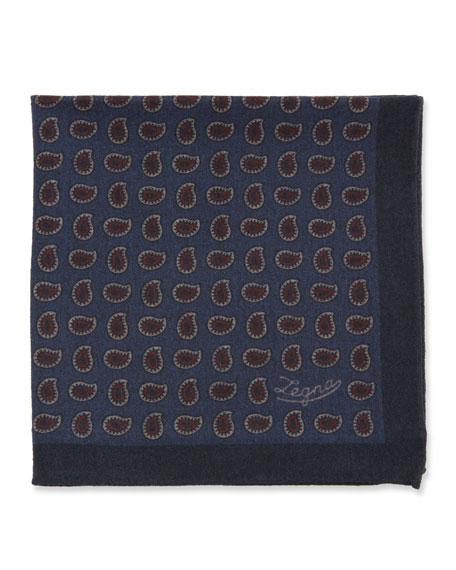Ermenegildo Zegna Men's Blue Pines Reversible Wool Pocket Square